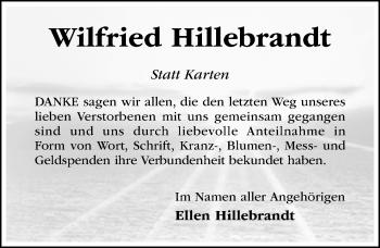 Traueranzeige von Wilfried Hillebrandt von Hildesheimer Allgemeine Zeitung