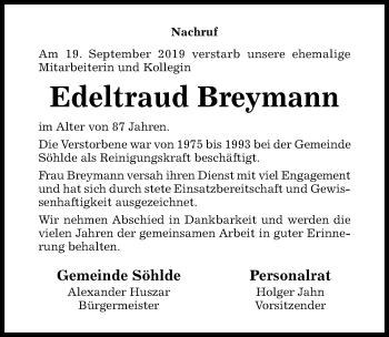 Traueranzeige von Edeltraud Breymann von Hildesheimer Allgemeine Zeitung