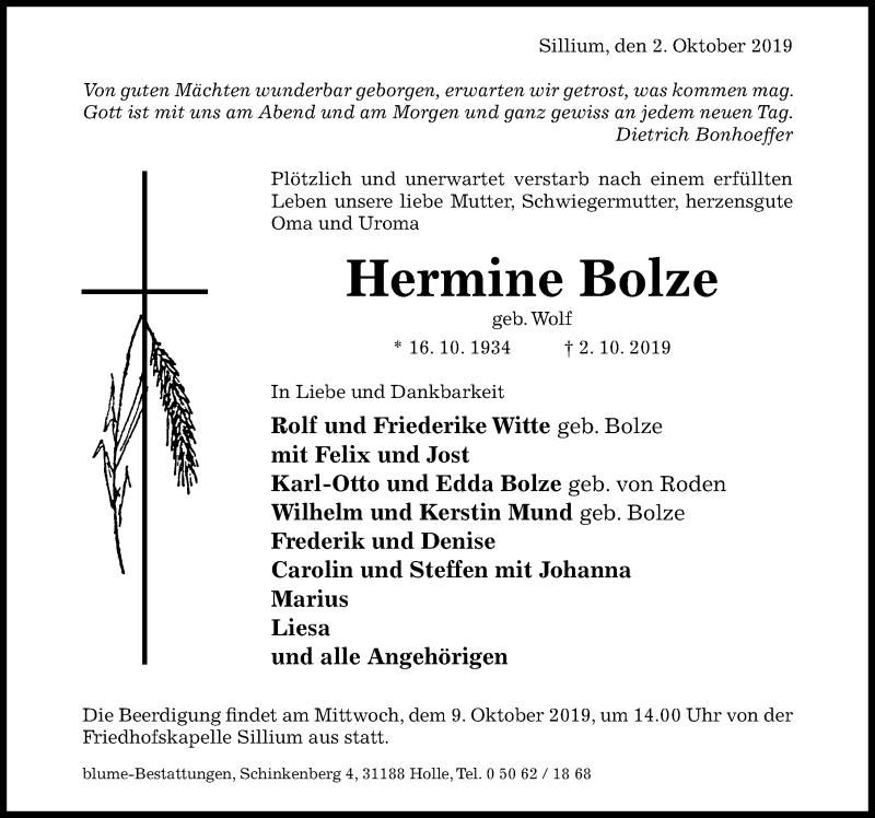 Traueranzeige für Hermine Bolze vom 05.10.2019 aus Hildesheimer Allgemeine Zeitung