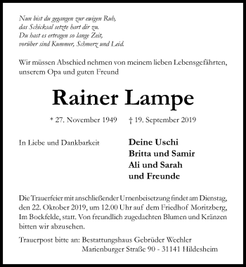 Traueranzeige von Rainer Lampe von Hildesheimer Allgemeine Zeitung