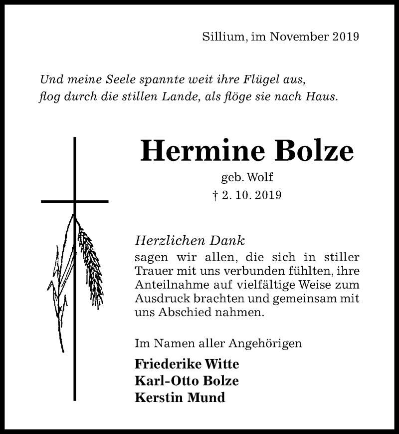 Traueranzeige für Hermine Bolze vom 16.11.2019 aus Hildesheimer Allgemeine Zeitung