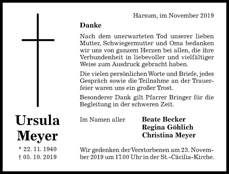 Traueranzeige für Ursula Meyer vom 16.11.2019 aus Hildesheimer Allgemeine Zeitung