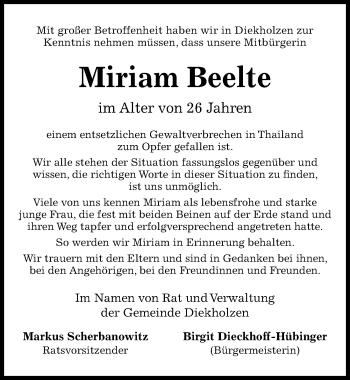 Traueranzeige für Miriam Beelte vom 13.04.2019 aus Hildesheimer Allgemeine Zeitung