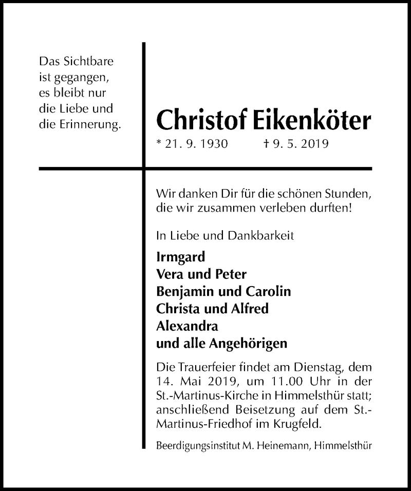 Traueranzeige für Christof Eikenköter vom 11.05.2019 aus Hildesheimer Allgemeine Zeitung