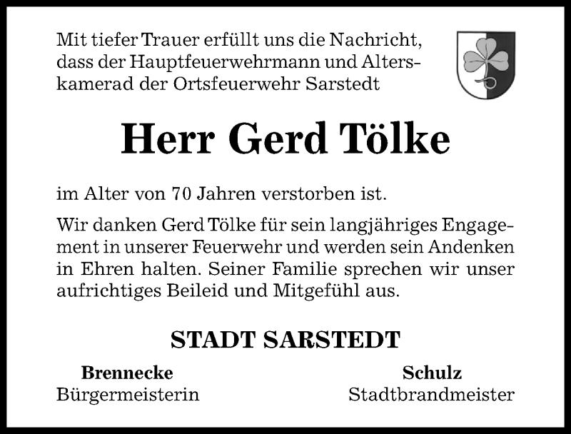 Traueranzeige für Gerd Tölke vom 14.05.2019 aus Hildesheimer Allgemeine Zeitung