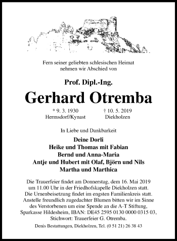 Traueranzeige für Gerhard Otremba vom 14.05.2019 aus Hildesheimer Allgemeine Zeitung
