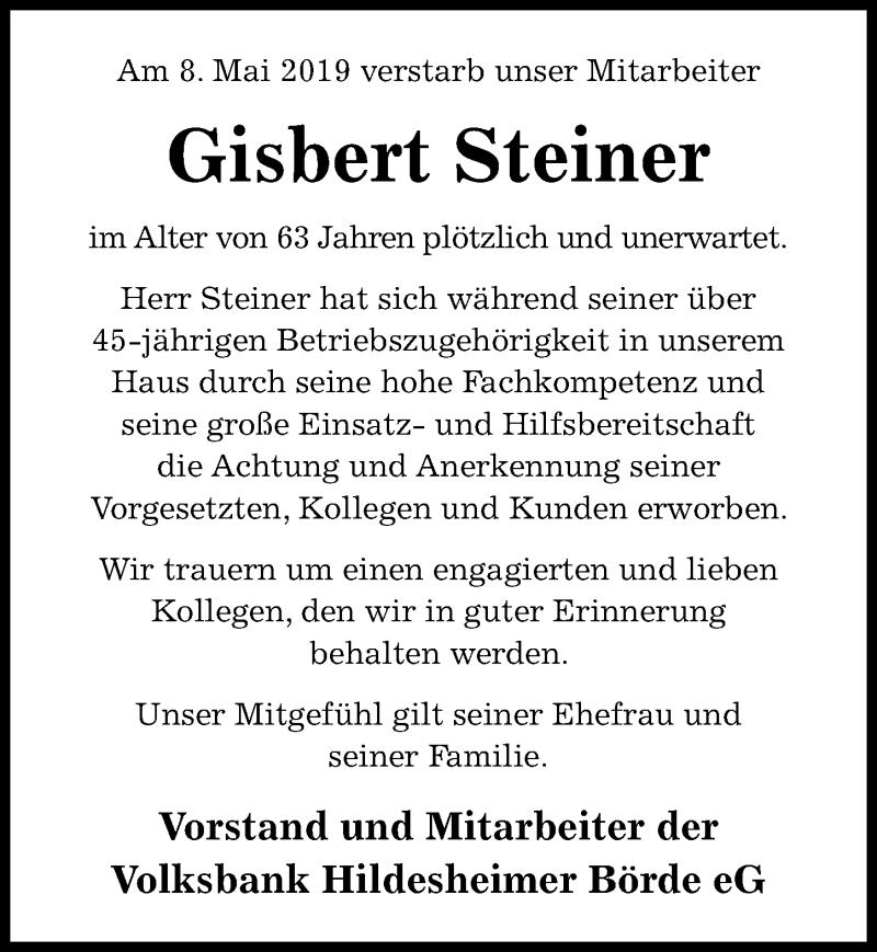 Traueranzeige für Gisbert Steiner vom 11.05.2019 aus Hildesheimer Allgemeine Zeitung