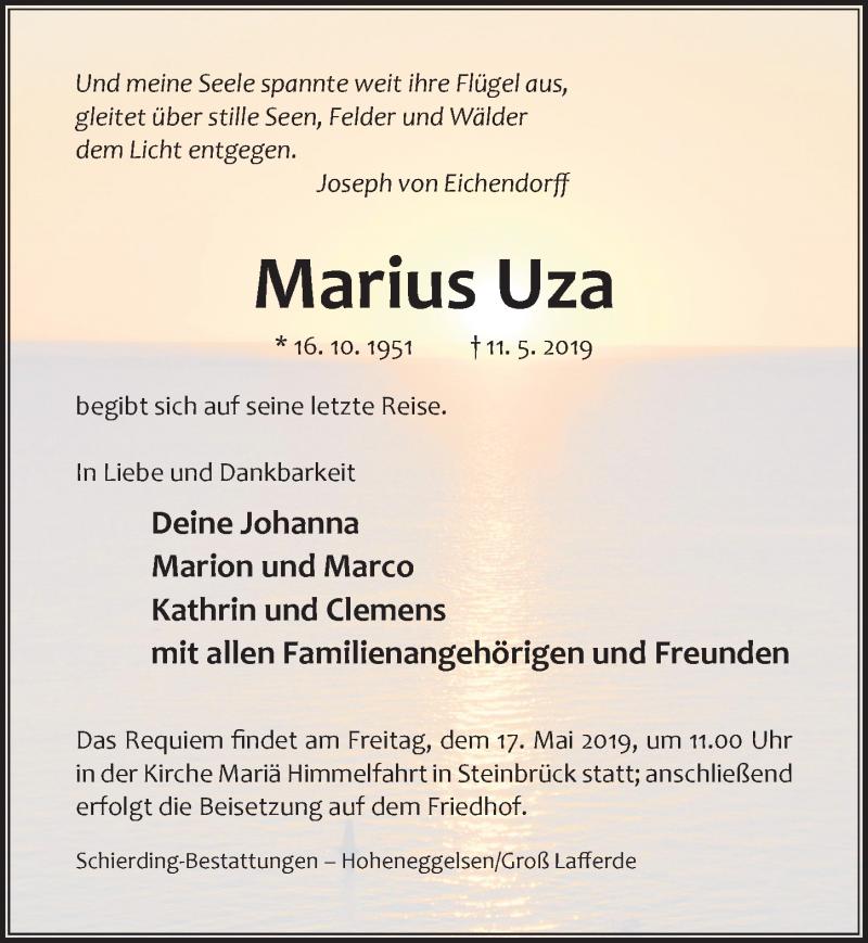 Traueranzeige für Marius Uza vom 15.05.2019 aus Hildesheimer Allgemeine Zeitung