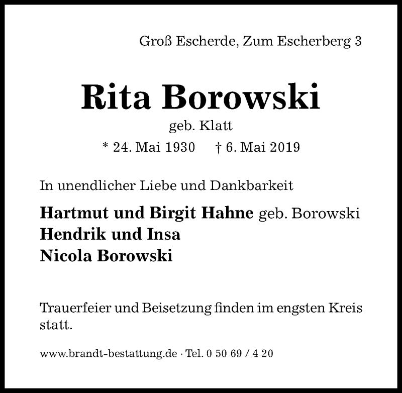 Traueranzeige für Rita Borowski vom 11.05.2019 aus Hildesheimer Allgemeine Zeitung