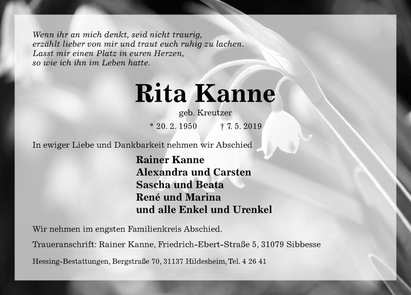Traueranzeige für Rita Kanne vom 11.05.2019 aus Hildesheimer Allgemeine Zeitung