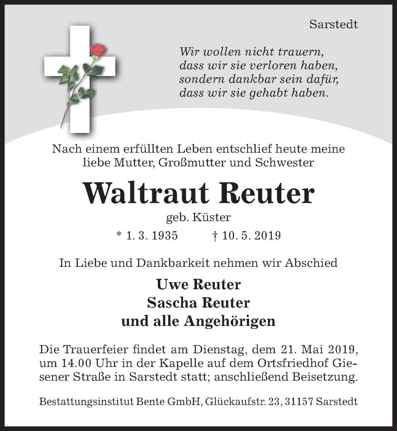 Traueranzeige für Waltraut Reuter vom 15.05.2019 aus Hildesheimer Allgemeine Zeitung