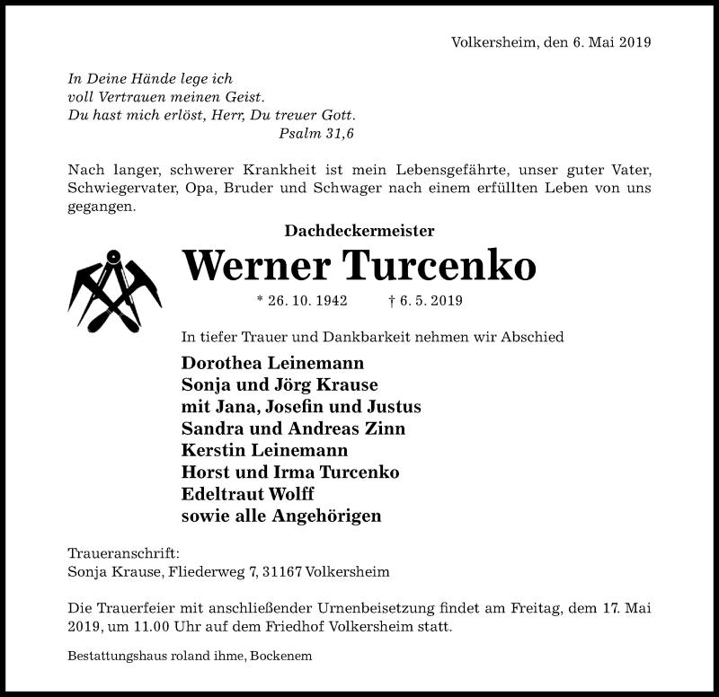 Traueranzeige für Werner Turcenko vom 11.05.2019 aus Hildesheimer Allgemeine Zeitung