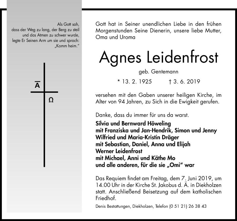 Traueranzeige für Agnes Leidenfrost vom 05.06.2019 aus Hildesheimer Allgemeine Zeitung