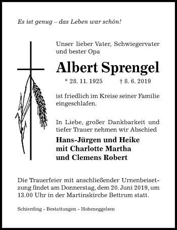 Traueranzeige für Albert Sprengel vom 12.06.2019 aus Hildesheimer Allgemeine Zeitung
