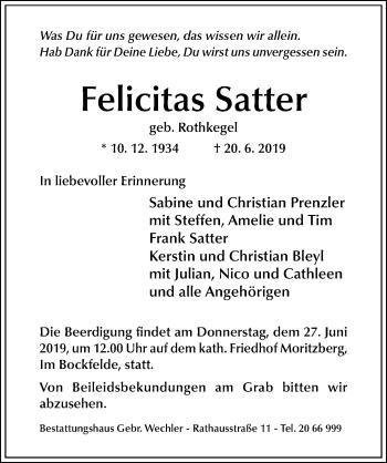 Traueranzeige von Felicitas Satter von Hildesheimer Allgemeine Zeitung