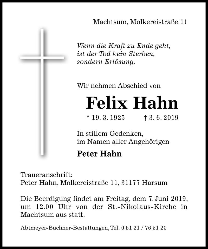 Traueranzeige für Felix Hahn vom 04.06.2019 aus Hildesheimer Allgemeine Zeitung