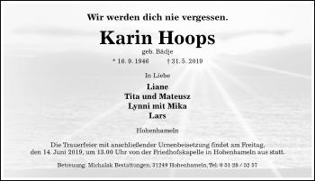 Traueranzeige für Karin Hoops vom 04.06.2019 aus Hildesheimer Allgemeine Zeitung
