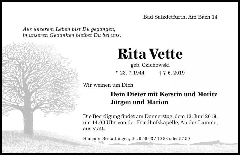 Traueranzeige für Rita Vette vom 12.06.2019 aus Hildesheimer Allgemeine Zeitung
