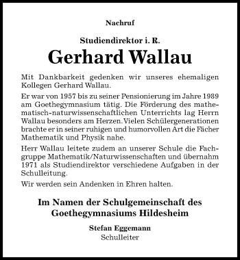 Traueranzeige von Gerhard Wallau von Hildesheimer Allgemeine Zeitung