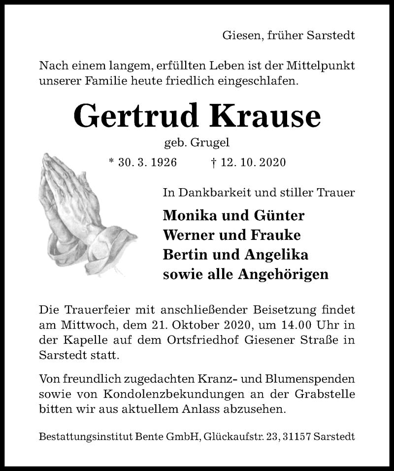 Traueranzeige für Gertrud Krause vom 17.10.2020 aus Hildesheimer Allgemeine Zeitung