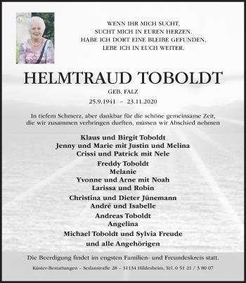 Traueranzeige von Helmtraud Toboldt von Hildesheimer Allgemeine Zeitung