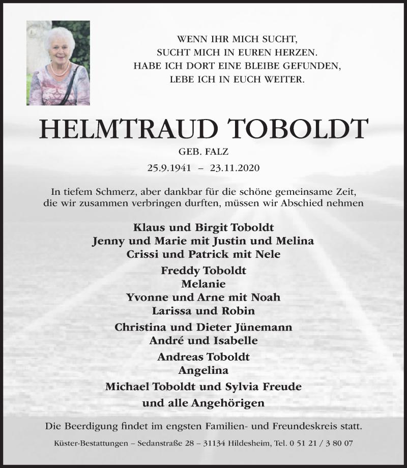 Traueranzeige für Helmtraud Toboldt vom 25.11.2020 aus Hildesheimer Allgemeine Zeitung
