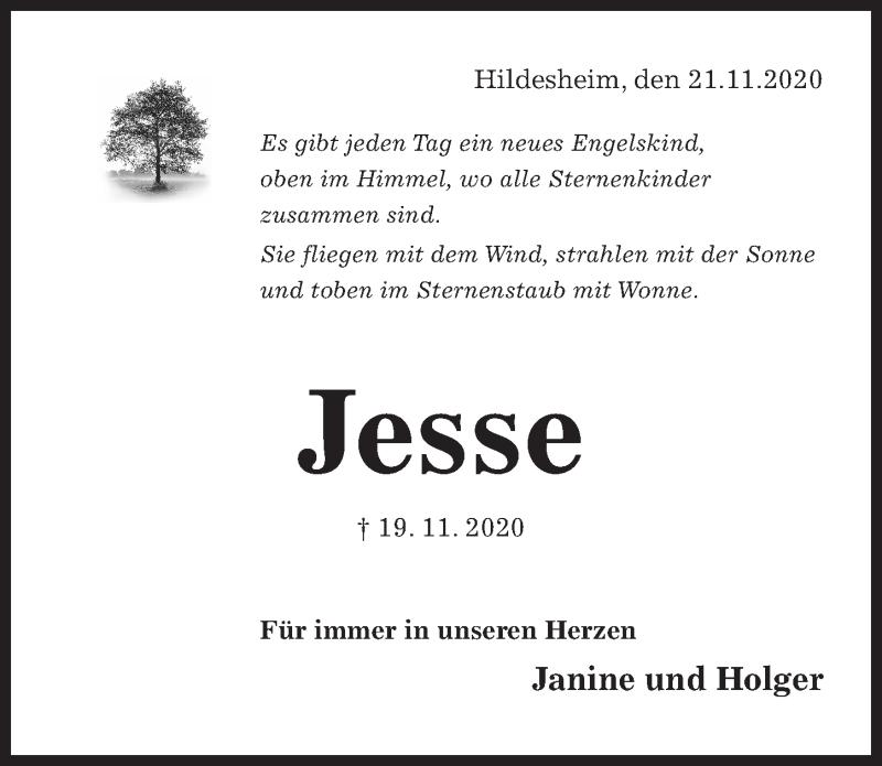 Traueranzeige für Jesse Lautensack vom 23.11.2020 aus Hildesheimer Allgemeine Zeitung