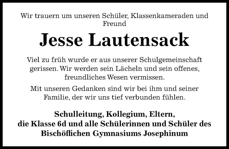 Traueranzeige für Jesse Lautensack vom 24.11.2020 aus Hildesheimer Allgemeine Zeitung