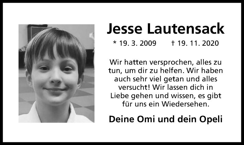 Traueranzeige für Jesse Lautensack vom 21.11.2020 aus Hildesheimer Allgemeine Zeitung