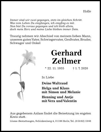 Traueranzeige von Gerhard Zellmer von Hildesheimer Allgemeine Zeitung
