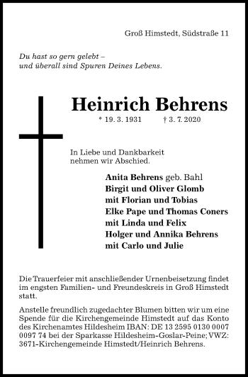 Traueranzeige von Heinrich Behrens von Hildesheimer Allgemeine Zeitung