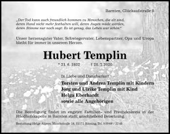 Traueranzeige von Hubert Templin von Hildesheimer Allgemeine Zeitung