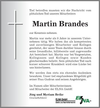 Traueranzeige von Martin Brandes von Hildesheimer Allgemeine Zeitung