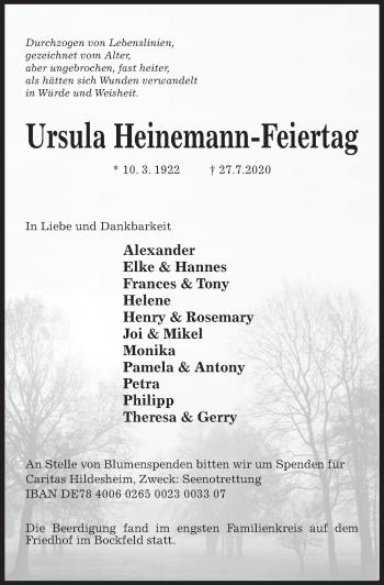 Traueranzeige von Ursula Heinemann-Feiertag von Hildesheimer Allgemeine Zeitung