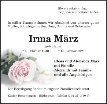 Traueranzeige von Irma März von Hildesheimer Allgemeine Zeitung