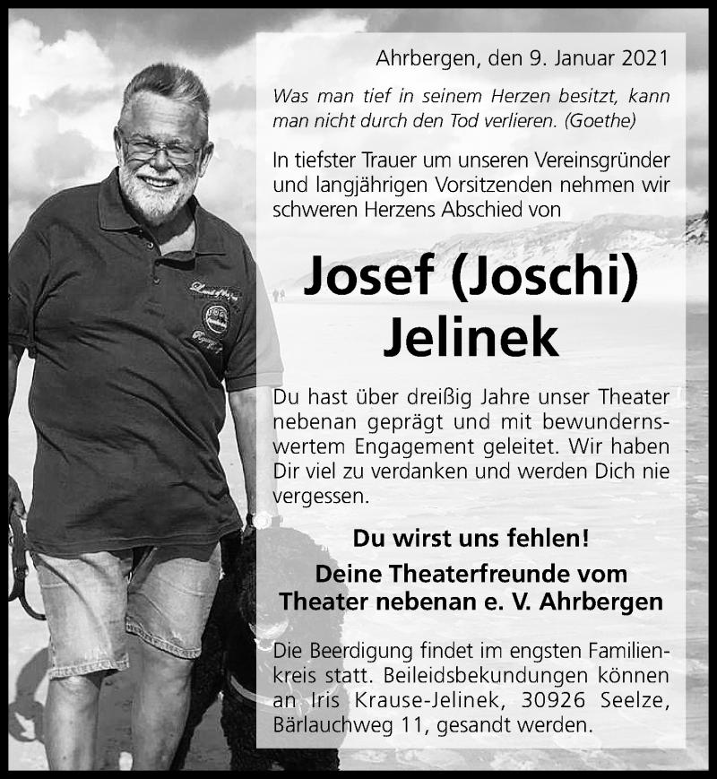 Traueranzeige für Josef Jelinek vom 13.01.2021 aus Hildesheimer Allgemeine Zeitung