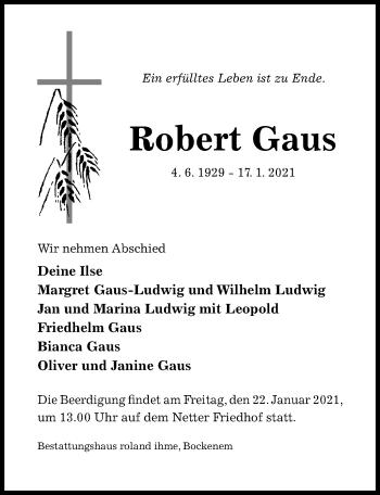 Traueranzeige von Robert Gaus von Hildesheimer Allgemeine Zeitung