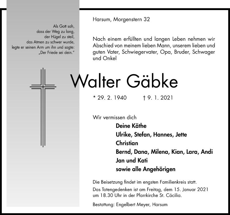 Traueranzeige für Walter Gäbke vom 13.01.2021 aus Hildesheimer Allgemeine Zeitung