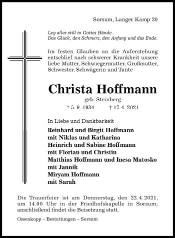 Traueranzeige von Christa Hoffmann von Hildesheimer Allgemeine Zeitung