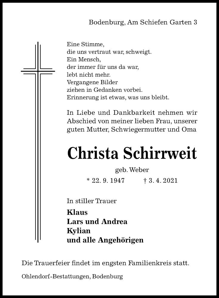 Traueranzeige für Christa Schirrweit vom 07.04.2021 aus Hildesheimer Allgemeine Zeitung