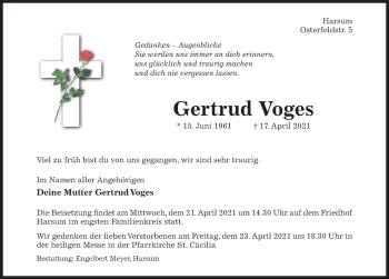 Traueranzeige von Gertrud Voges von Hildesheimer Allgemeine Zeitung