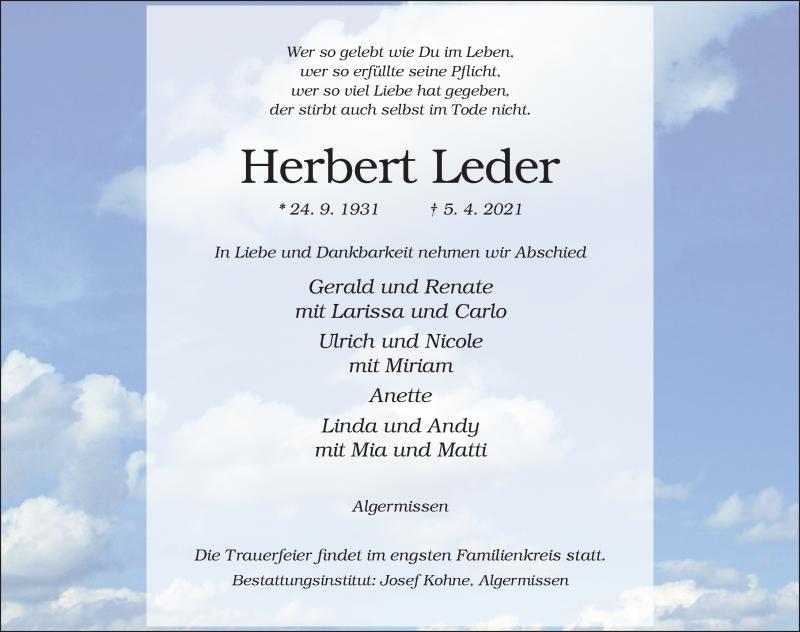 Traueranzeige für Herbert Leder vom 07.04.2021 aus Hildesheimer Allgemeine Zeitung