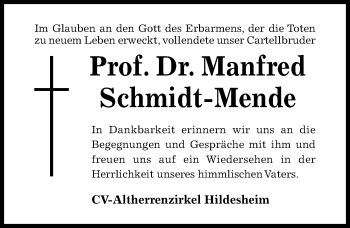 Traueranzeige von Manfred Schmidt-Mende von Hildesheimer Allgemeine Zeitung