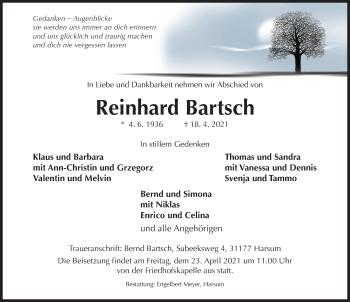 Traueranzeige von Reinhard Bartsch von Hildesheimer Allgemeine Zeitung