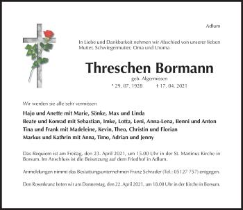 Traueranzeige von Threschen Bormann von Hildesheimer Allgemeine Zeitung