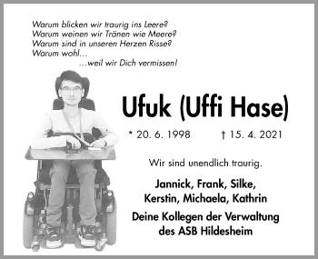 Traueranzeige von Ufuk  von Hildesheimer Allgemeine Zeitung
