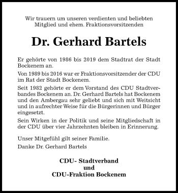 Traueranzeige von Gerhard Bartels von Hildesheimer Allgemeine Zeitung