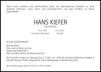 Traueranzeige von Hans Kiefer von Hildesheimer Allgemeine Zeitung