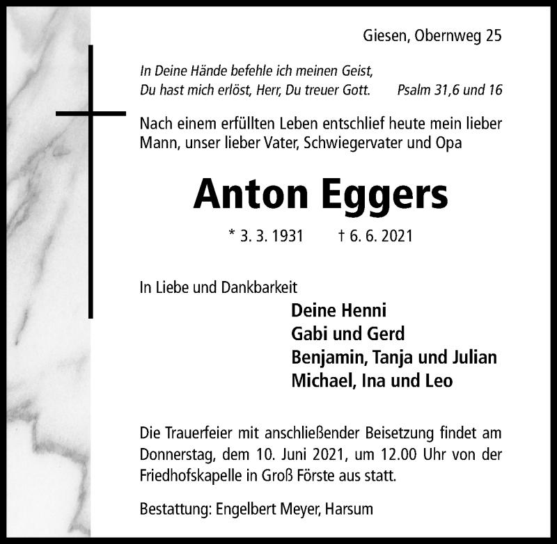 Traueranzeige für Anton Eggers vom 08.06.2021 aus Hildesheimer Allgemeine Zeitung