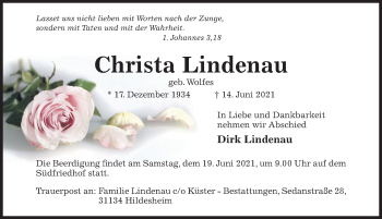 Traueranzeige von Christa Lindenau von Hildesheimer Allgemeine Zeitung